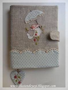 Fabric Crafts, Sewing Crafts, Sewing Projects, Notebook Covers, Journal Covers, Handmade Books, Handmade Crafts, Embroidery Patterns, Hand Embroidery