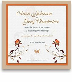 210 Square Wedding Invitations - Flower & Butterfly by WeddingPaperMasters.com. $546.00. Now you can have it all! We have created, at incredible prices & outstanding quality, more than 300 gorgeous collections consisting of over 6000 beautiful pieces that are perfectly coordinated together to capture your vision without compromise. No more mixing and matching or having to compromise your look. We can provide you with one piece or an entire collection in a one stop shop...