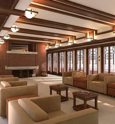 Famous home designed by Frank Lloyd Wright. Recreated with lightwave, and rendered with fprime.
