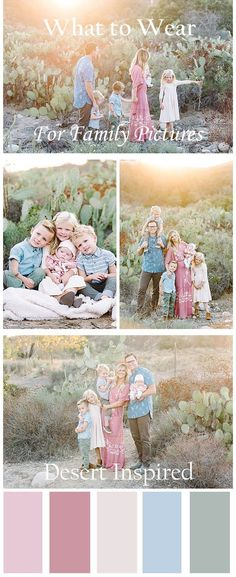 What to Wear for Family Pictures featuring a desert-inspired pallet of dusty rose, sage, cream, and grey-blue from Orange County family photographer Brooke Bakken. Family Pictures Family Portraits Outfit Ideas for Families Desert Family Pictures S