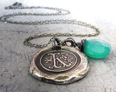 Monogram Initial Letter Wax Seal Necklace. Aqua Blue Chalcedony Briolette Charm. Fine Silver Any Letter. Wax Seal Stamped Jewelry. , via Etsy.
