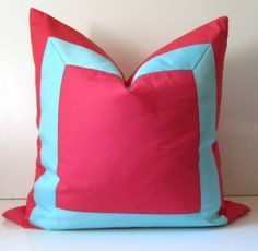 Coral Pillow - 22 inch - Decorative Pillow Cover - watermelon - lipstick - cotton fabric with Wide Aqua Ribbon embellishment -ready to ship
