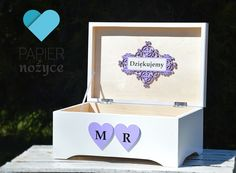 "Personalizowany kufer na koperty ślubne""Violet Love BOX"""