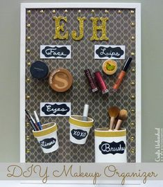 Magnetic DIY Makeup Organizer Board. Love the pattern - it's just scrapbooking paper! - and the thumbtack details.