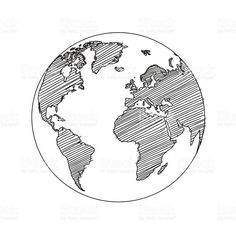 World map globe sketch in vector format Weltkarte World Sketch Vector Lizenzfreies vektor illustration World Globe Tattoos, World Tattoo, World Map Sketch, Art Globe, Globus Tattoos, Earth Sketch, Erde Tattoo, Globe Drawing, Karten Tattoos
