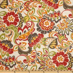 Bryant Indoor/Outdoor Zoe Citrus from @fabricdotcom  From Bryant, this indoor/outdoor fabric has a soil and stain repellent finish. It's perfect for indoor home decor such as toss pillows, slipcovers, upholstery and placemats, use outdoors for cushions, pillows and deck chairs this is great family friendly fabric! To maintain the life of the fabric bring indoors when not in use. Colors include lime, yellow, red, orange and taupe on a natural background.
