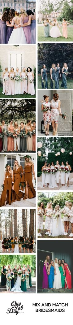 Mix and Match Bridesmaids Dresses Mix Match Bridesmaids, Bridesmaid Dress Styles, Brides And Bridesmaids, Wedding Dresses, Bridesmaid Inspiration, Wedding Inspiration, Wedding Color Schemes, Wedding Colors, Beautiful Wedding Gowns