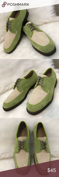 HUSH PUPPIES Suede Green & Ivory Lace Up Oxfords Festival Ready !! These are BRAND NEW NEVER WORN. NO BOX. These are Hush Puppies classics. Lime green and ivory suede with gray laces and brown soles. Great with jeans and your favorite tee. VERY UNIQUE 😊 Hush Puppies Shoes