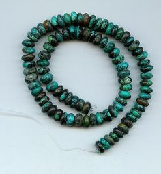 Real Turquoise 9 mm Rondelle Beads 16 Inch Strand Lot # 38