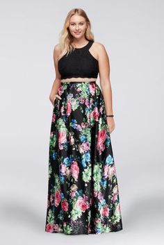 One of the hottest fashion trends, the crop top is a must-have for prom season. This plus size two-piece dress features a cutaway halter crop top with an edgy exposed back zipper, and a full, floral-printed charmeuse skirt.   By Blondie Nites  Two-piece outfit  Polyester, spandex  Back zipper; fully lined  Spot clean  Imported  Also available in regular