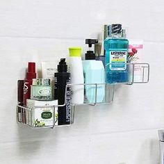 """This ladder shaped detachable rack shelf organizer with layered design, It holds about 6 to 7 bottles list 14.4"""" x 5"""" x 8.8''. Basket's sticker is a new type of material for use repeatedly Set of 3, no trace leave, strong adhesiveness and waterproof. Just peel off the protective layer in the back and stick it on the desired position, then after some time, put the basket buckled on the magic sticker(must be smooth surface ,like ceramic tile, metal surface ,glasses, etc) Shower Rack, Shower Basket, Shower Storage, Small Bathroom Storage, Bathroom Shelves, Bathroom Ideas, Listerine Cool Mint, Rack Shelf, Shelf Organizer"""