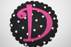 initial appliques   DIY Iron on Applique - - - - Initial in Hot Pink Curlz- - - Scalloped ...
