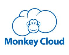 Monkey Cloud Logo design - Fun and creative logo of a monkey in the clouds, it is like the money face in the clouds and looking over, simple and attractive design with just the blue color. This design can be useful for data storage, cloud computing, technological services, pets and animals related and more. Price $0.00