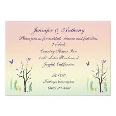 Springtime Wedding Reception Custom Invitations