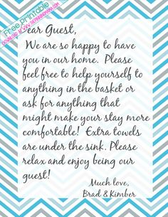 I always leave a handwritten note for my guests to make them feel comfortable in my home and let them know where things are! It makes them feel so welcome! **Free welcome note printable stationary download here!*** Every idea you need to make a guest basket for the bathroom! Love this idea! Plus a free printable for a guest welcome letter.