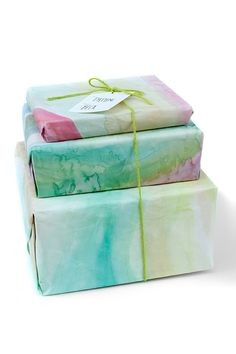 DIY Watercolor Gift Wrap via julep