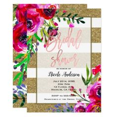 Gold Foil Glitter Stripe Bold Floral Bridal Shower Card - glitter glamour brilliance sparkle design idea diy elegant
