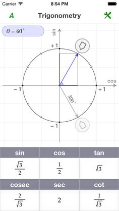 Ezy Trigonometry is a friendly tool designed to help students understand trigonometry.  FEATURES + Interactive unit circle. Allows exploring relations between angles and trigonometric ratios. + Bundled with an exact trigonometric ratios table + Bundled with a hand book of trigonometric formulas + Flexible settings: radians / degrees, related angles, angle snapping 4MB