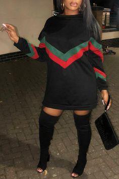 Sporty Style Patchwork Mini Dress(Plus Size) Amaldress Casual Style StripedFlounce Design Knielanges Kleid Black Women Fashion, Look Fashion, Girl Fashion, Autumn Fashion, Fashion Outfits, Womens Fashion, Cheap Fashion, Ladies Fashion, Fashion Boots