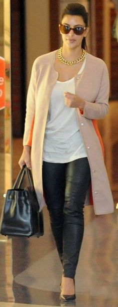 Kim Kardashian Street Style - leather leggings: