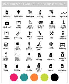 Printable Linen Closet Labels | 36 Labels in 5 Color Schemes
