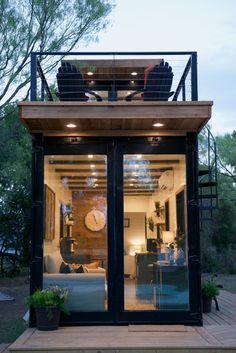 Small Tiny House, Tiny House Cabin, Loft House, Tiny House Living, Tiny House Plans, Tiny House Design, My House, Tiny Container House, Sea Container Homes