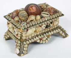 Victorian Shell Art Box w/ Mirror