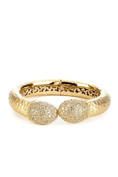 18K Gold Clad Pave Simulated Diamond Hammered Hinged Bangle