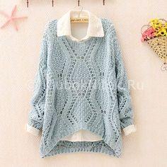 Пуловер с ромбами | Вязание для женщин | Вязание спицами и крючком. Схемы вязания.