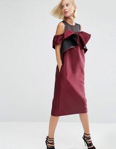 ASOS White | Платье с открытыми плечами и вставкой из органзы ASOS WHITE