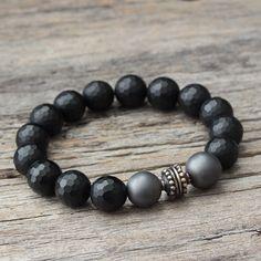 Onyx Hematite Unisex Bracelet / Bali Sterling Silver, Matte Gemstones, Dark Midnight Black, Steel Grey Beaded, Men, Industrial, Smoke Gray by byjodi on Etsy https://www.etsy.com/listing/196024866/onyx-hematite-unisex-bracelet-bali