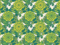 """Japano-paisley III"" by momotaro HopeFull, Japan, deep green, eggshell white, indigo blue, paisley, soft green, yolk yellow"