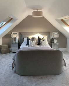 We are loving this beautiful loft conversion by the windows either side of the room let in so much natural light and the. The post Bedroom inspiration & loft conversion appeared first on Mack Makeovers. Attic Master Bedroom, Attic Bedroom Designs, Attic Bedrooms, Bedroom Loft, Jungle Bedroom, Bedroom Ideas, Eaves Bedroom, Attic Bedroom Decor, Attic Bedroom Storage