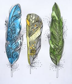 plumas sueño discovered by Daniela Camacho on We Heart It Feather Sketch, Feather Drawing, Feather Art, Bird Feathers, Feather Painting, Wow Art, Doodle Art, Tattoo Inspiration, Watercolor Art