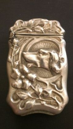 Antique Silver Plated Art Nouveau Hunting DOG Match Safe Vesta James E. Blake Co
