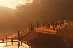 Early Morning at Pang-Ung - Mae Hong Son, Thailand - December 28, 2008: Travellers enjoy viewing beautiful sunrise at Pang-Ung, the most beautiful reservoir in Mae Hong Son province, northern part of Thailand.