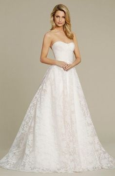 Sweetheart A-Line Wedding Dress  with Natural Waist in Lace. Bridal Gown Style Number:33227133