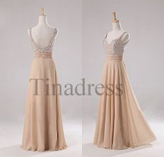 Custom Champagne Beaded Long Prom Dresses Evening Dresses Bridesmaid Dresses Party Dress Evening Gowns Cocktail Dress Homecoming Dress