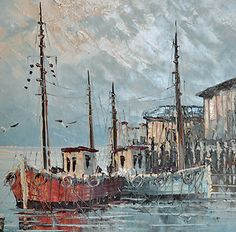 Oil Paintings By W Jones Sunset Harbour