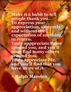Make it a habit to tell people thank you. prayer thankful thanksgiving blessings give thanks thanksgiving quote Thank You Quotes, Quotes To Live By, Me Quotes, Motivational Quotes, Inspirational Quotes, Daily Quotes, Thanksgiving Blessings, Thanksgiving Quotes, Happy Thanksgiving