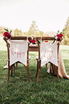Just the cutest chair flags with a pop of something pretty! #cedarwoodweddings Feel the Love Style Gallery   Cedarwood Weddings