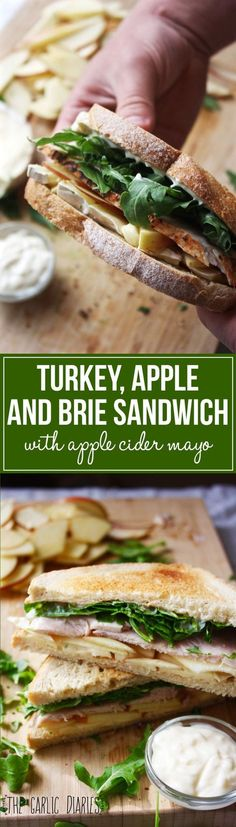 Turkey, Apple, and Brie Sandwich with Apple Cider Mayo - Easy, fresh, and SO flavorful!! The perfect sandwich -- http://TheGarlicDiaries.com