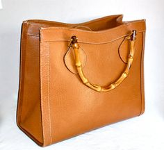 Vintage GUCCI Tote Brown Leather Bamboo Large Handbag, via Etsy.