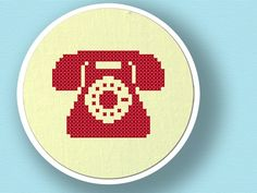 Telephone Silhouette. Cross Stitch PDF Pattern. $3.00, via Etsy.