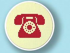 Telephone Silhouette. Cross Stitch PDF Pattern. $3.00, via Etsy.