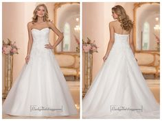 STRAPLESS SWEETHEART EMBELLISHED LACE BODICE A-LINE WEDDING DRESSES