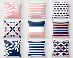 Pink Navy Pillow Pillow Covers Cushion Covers by HLBhomedesigns