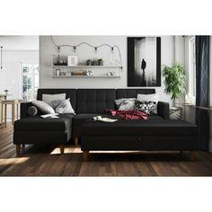 Chaise Sofa, Living Room Sofa, Living Room Decor, Living Rooms, Black Couches, Black Sectional, Black Sofa, Ottoman, Living Room