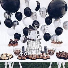 PuTwo Balloons 50 Packs 12 Inch Marble Color Balloons for Wedding Decoration Birthday Party Baby Shower Bachelorette Party - Black/White Baby Birthday, 50th Birthday, First Birthday Parties, Black And White Balloons, Black White Parties, Birthday Party Decorations, Wedding Decorations, Marble Balloons, Space Party