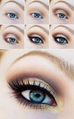 Tutorial de maquillaje para ojos en color dorado con negro y café